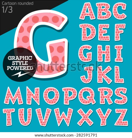 Vector children alphabet set in sweet dots style. File contains graphic styles available in Illustrator. Uppercase letters - stock vector