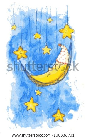Vector Children Illustration with Moon and Stars - stock vector
