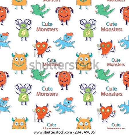 Vector children seamless pattern with cute monsters - stock vector