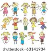 vector children sketch with many kids doing something - stock vector