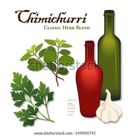 vector-Chimichurri, popular herb sauce originated in Argentina used for grilled meat, barbecue. Parsley, garlic, oregano, olive oil, wine vinegar. See other blends in series. EPS8 has gradient mesh. - stock vector