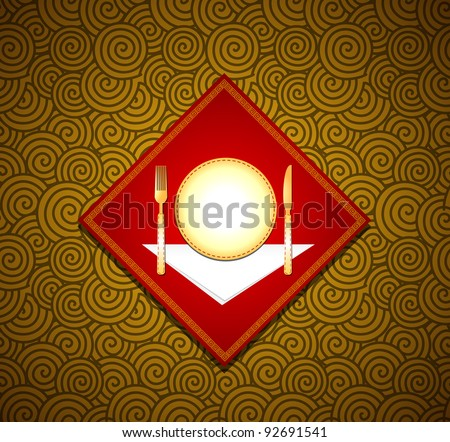 Vector Chinese background with cutlery - stock vector