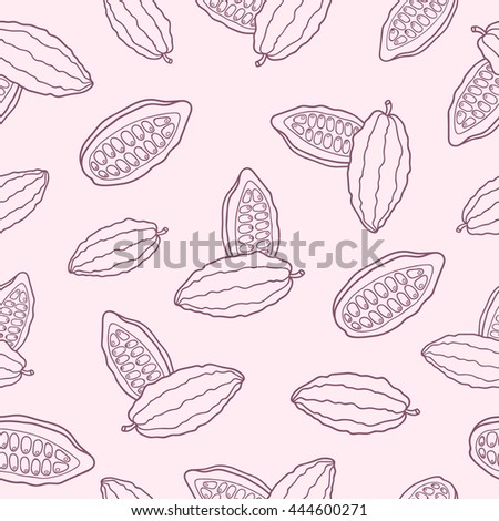 Vector chocolate cacao pattern: bean, cocoa, seed. Design box and packing for restaurant, shop, confectionery, culinary, cafe, cafeteria, bar