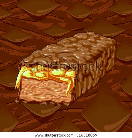 Vector chocolate energy bar illustration with a melting chocolate background