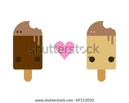 Vector Chocolate Ice Cream and Vanilla Ice Cream Lolly Isolated on White Background - stock vector