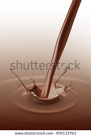 Vector Chocolate Splash Stream Flow Close up Isolated on Background