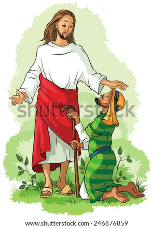 Vector christian illustration. Jesus healing a lame man. Also available outlined version - stock vector