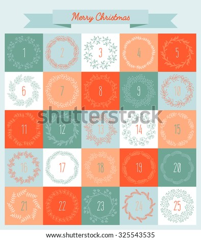 Vector Christmas advent calendar with wreaths in red and blue colors - stock vector