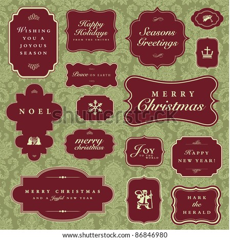 Vector Christmas and Holiday Frame Set. Easy to edit. Pattern is a seamless swatch. Perfect for greeting cards, invitations and announcements. - stock vector