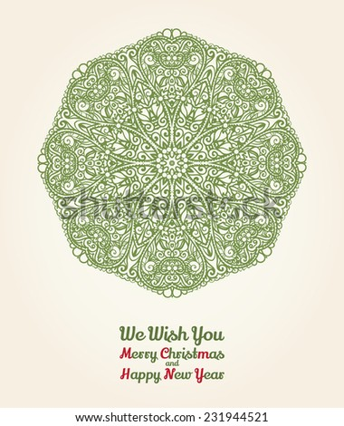 Vector Christmas and New Year card with ornamental snowflake, vintage green on beige parchment - stock vector