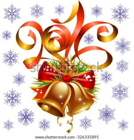 Vector Christmas and New Year 2016 decoration set. Red ribbon, golden bell, snowflake - stock vector