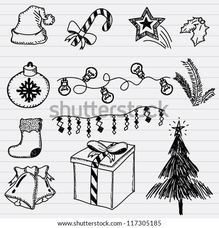Vector Christmas and New Year doodle illustrations - stock vector