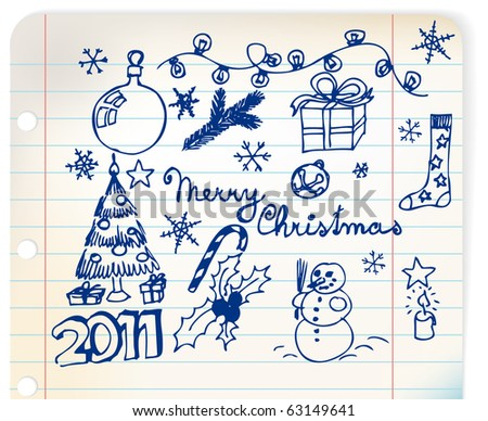 Vector Christmas and New Year doodle illustrations on linked paper - stock vector