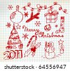 Vector Christmas and New Year doodle illustrations on squared  paper - stock vector