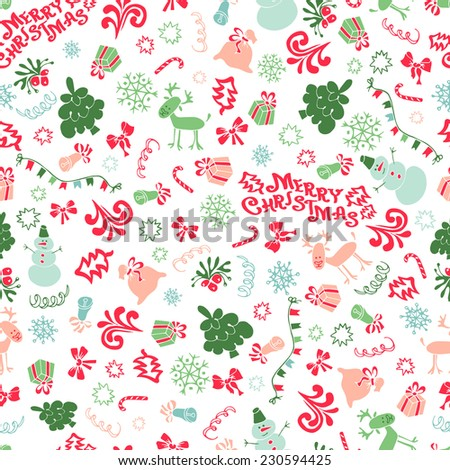 vector Christmas and new year elements, seamless decorative background - stock vector
