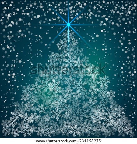 Vector Christmas and New Year Greeting blue  Background with snowflakes forming the tree - stock vector