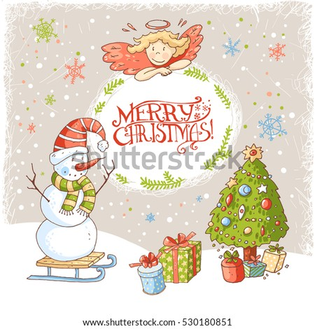 Vector Christmas New Year Greeting Card Stock Vector 530180851 ...