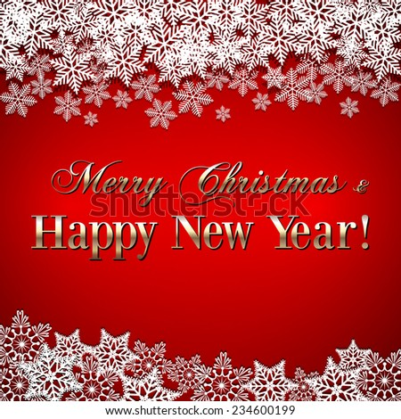 Vector Christmas and New Year Greeting red Background with snowflakes - stock vector