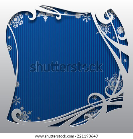 Vector Christmas and New-Year's square greeting card and poster with blue background and snowflakes. Christmas and New-Year's background with frame - stock vector