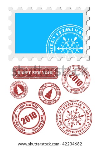 vector christmas and new  year stamps - stock vector