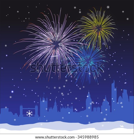 Vector Christmas ans New Year London background with fireworks and snow - stock vector
