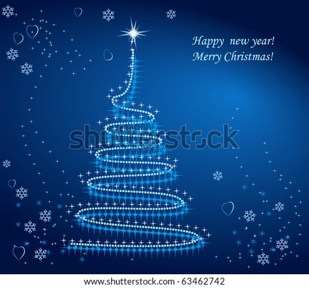 Vector Christmas background in blue shades - stock vector