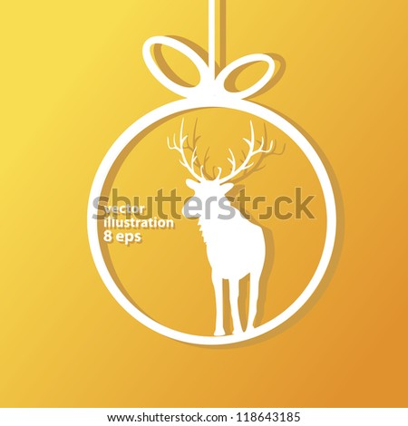 vector christmas background. vector christmas deer. christmas brochure with stars. cut paper. - stock vector