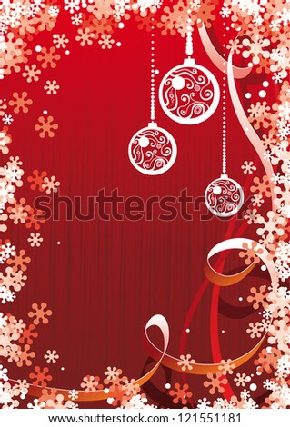 Vector christmas background with balls - stock vector