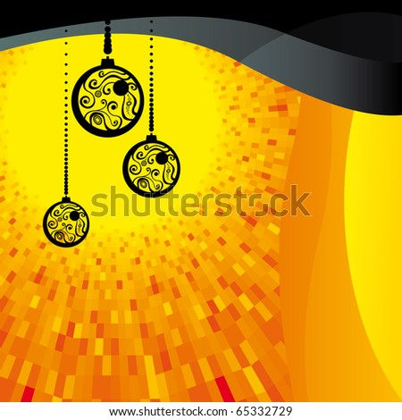 Vector Christmas background with black balls and orange shine - stock vector