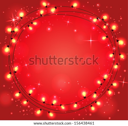 vector Christmas background with  christmas chain lights  - stock vector