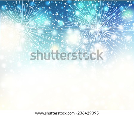 Vector Christmas background with fireworks. Vector design - stock vector