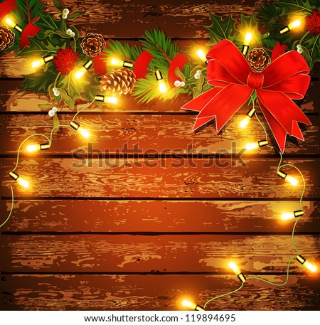 Vector Christmas background with garland on a wooden wall - stock vector