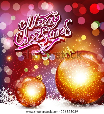 vector christmas background with greeting inscription and gold balls - stock vector