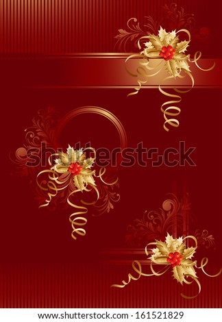 Vector Christmas Background With Holly - stock vector