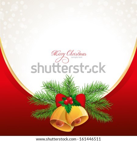 Vector christmas background with ribbon, bow, holly, and bell - stock vector