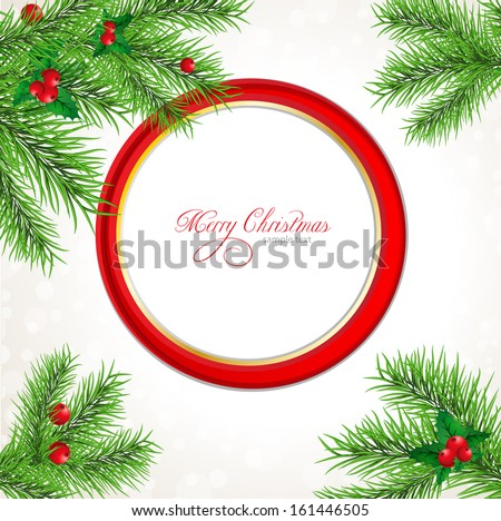 Vector Christmas background with round place for an inscription - stock vector
