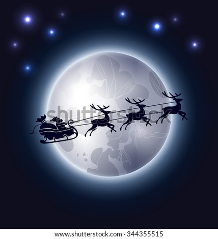Vector Christmas background with Santa Claus and the moon