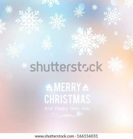 vector Christmas background with snowflakes - stock vector