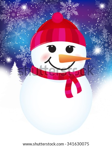 vector Christmas background with snowman. Christmas Card with winter Snowman - vector christmas illustration template with copy space. - stock vector