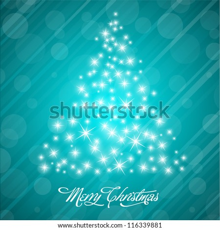 Vector Christmas Background with Stylized Christmas Tree - stock vector