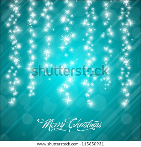 Vector Christmas Background with Stylized Falling Stars