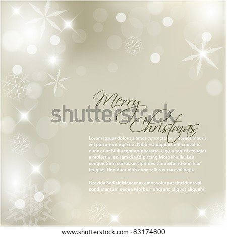 Vector Christmas background with white snowflakes and sample text - stock vector
