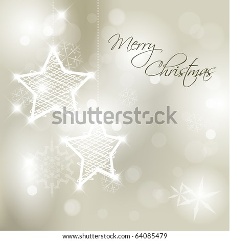 Vector Christmas background with white snowflakes, stars and place for your text - stock vector