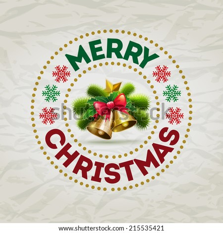 Vector Christmas badge design. Elements are layered separately in vector file. - stock vector