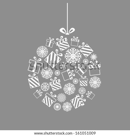 Vector Christmas ball made from gift boxes and snowflakes - Christmas card - stock vector