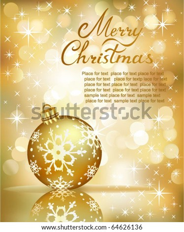 Vector Christmas ball on abstract golden  lights background. - stock vector