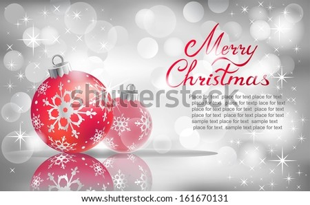 Vector Christmas ball on abstract silver lights background.
