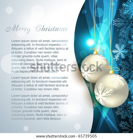 vector christmas ball on beautiful blue background - stock vector