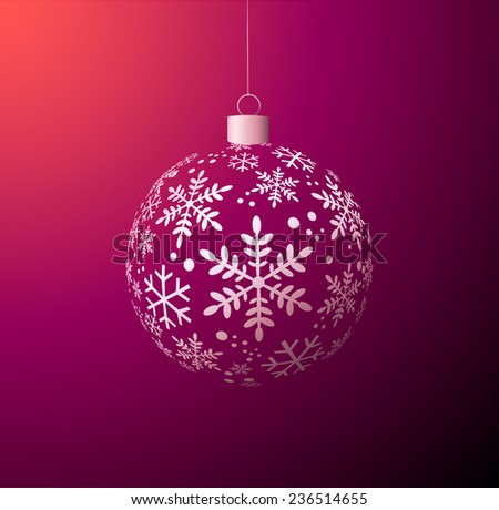 Vector Christmas ball on purple background - stock vector