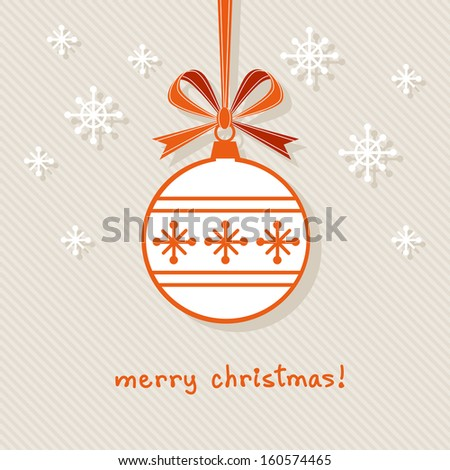 Vector christmas ball with red ribbon and bow. Original design element. Simple festive label. Greeting, invitation cute card with lettering - Merry Christmas. Decorative illustration for print, web  - stock vector